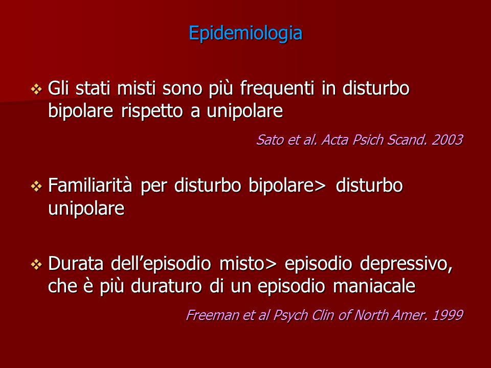 Epidemiologia Gli stati misti sono più frequenti in disturbo bipolare rispetto a unipolare Gli stati misti sono più frequenti in disturbo bipolare ris