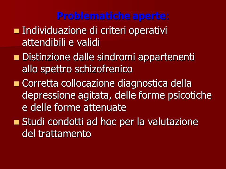 Problematiche aperte: Individuazione di criteri operativi attendibili e validi Individuazione di criteri operativi attendibili e validi Distinzione da