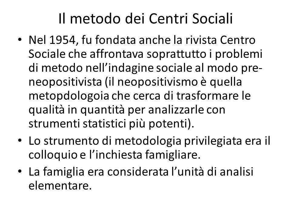 Il metodo dei Centri Sociali Nel 1954, fu fondata anche la rivista Centro Sociale che affrontava soprattutto i problemi di metodo nellindagine sociale