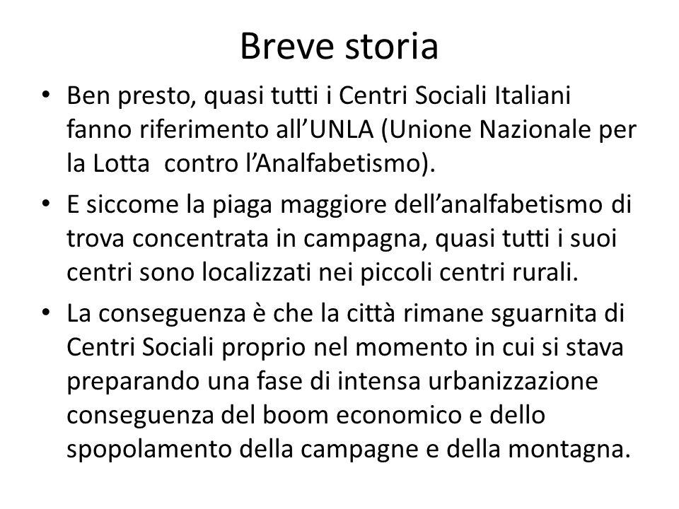Breve storia Ben presto, quasi tutti i Centri Sociali Italiani fanno riferimento allUNLA (Unione Nazionale per la Lotta contro lAnalfabetismo). E sicc