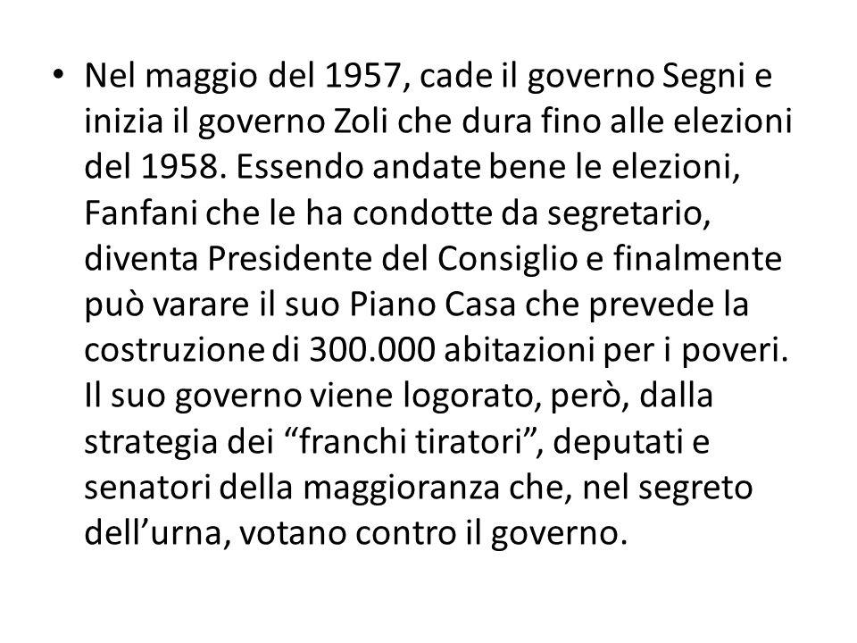 Nel maggio del 1957, cade il governo Segni e inizia il governo Zoli che dura fino alle elezioni del 1958. Essendo andate bene le elezioni, Fanfani che