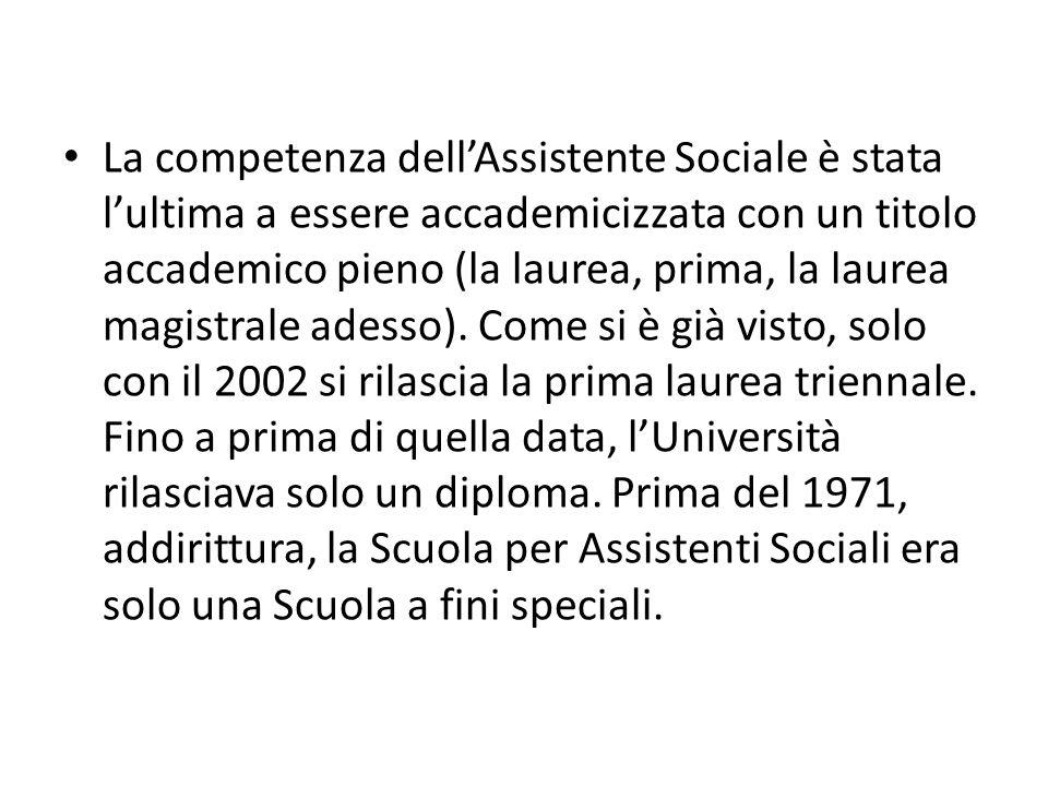 La competenza dellAssistente Sociale è stata lultima a essere accademicizzata con un titolo accademico pieno (la laurea, prima, la laurea magistrale a