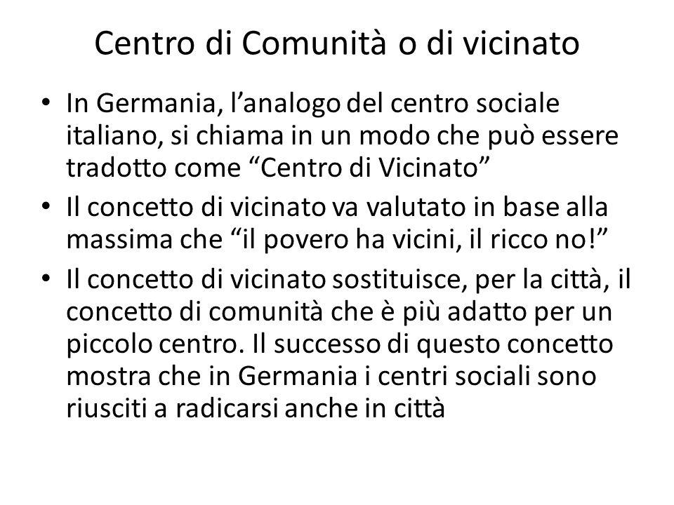 Centro di Comunità o di vicinato In Germania, lanalogo del centro sociale italiano, si chiama in un modo che può essere tradotto come Centro di Vicina