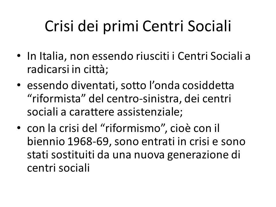 Crisi dei primi Centri Sociali In Italia, non essendo riusciti i Centri Sociali a radicarsi in città; essendo diventati, sotto londa cosiddetta riform