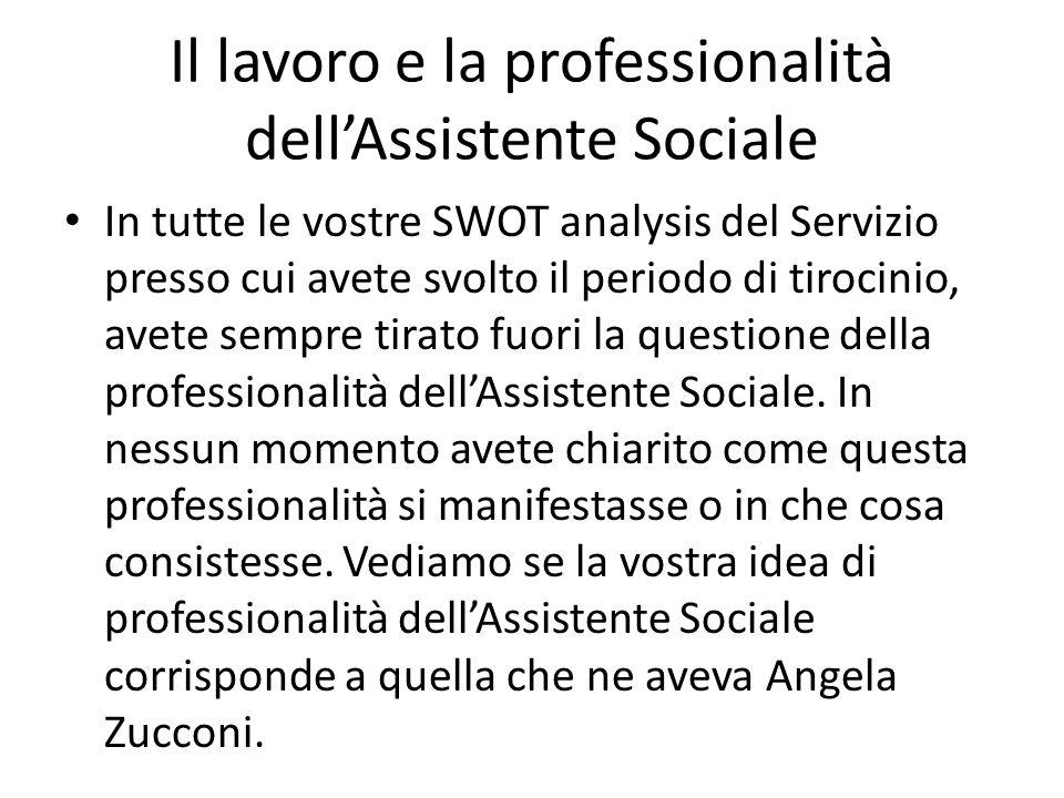 Il lavoro e la professionalità dellAssistente Sociale In tutte le vostre SWOT analysis del Servizio presso cui avete svolto il periodo di tirocinio, a
