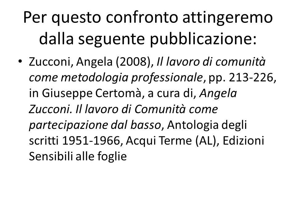 Per questo confronto attingeremo dalla seguente pubblicazione: Zucconi, Angela (2008), Il lavoro di comunità come metodologia professionale, pp. 213-2