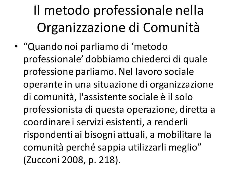 Il metodo professionale nella Organizzazione di Comunità Quando noi parliamo di metodo professionale dobbiamo chiederci di quale professione parliamo.