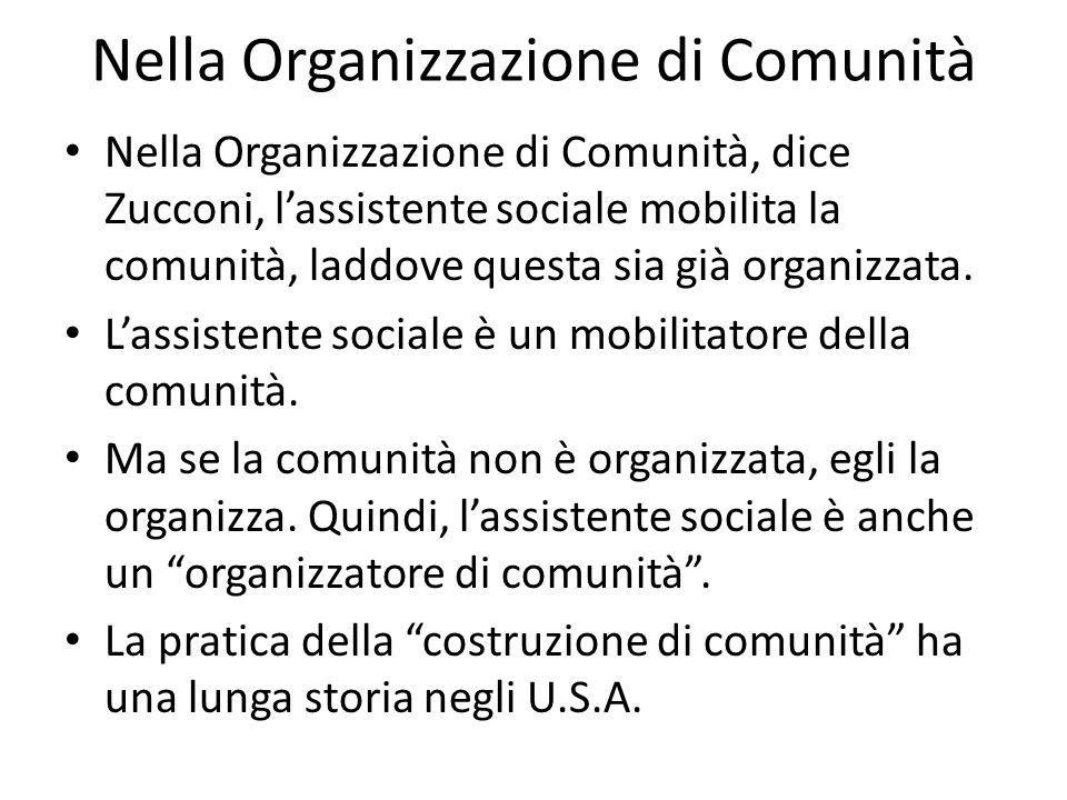 Nella Organizzazione di Comunità Nella Organizzazione di Comunità, dice Zucconi, lassistente sociale mobilita la comunità, laddove questa sia già orga