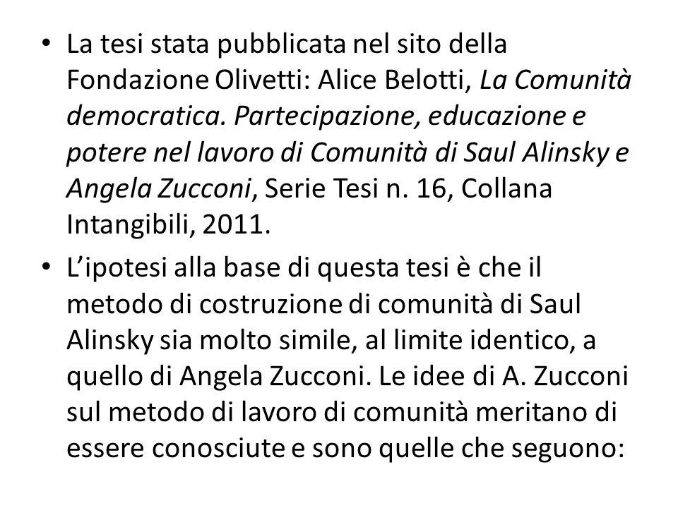 La tesi stata pubblicata nel sito della Fondazione Olivetti: Alice Belotti, La Comunità democratica. Partecipazione, educazione e potere nel lavoro di