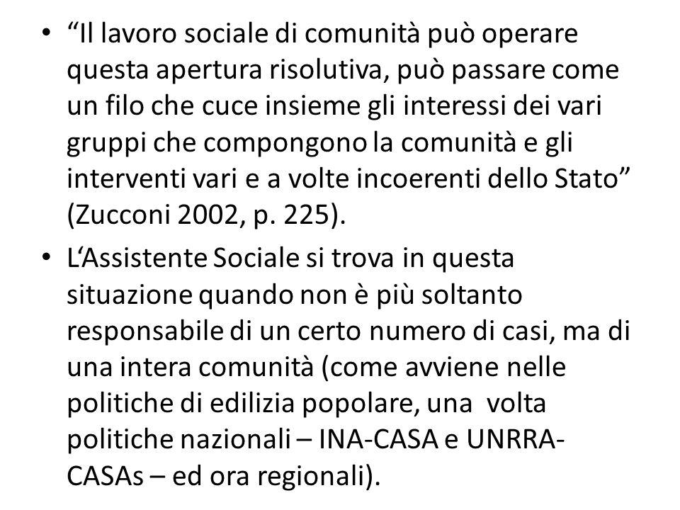 Il lavoro sociale di comunità può operare questa apertura risolutiva, può passare come un filo che cuce insieme gli interessi dei vari gruppi che com