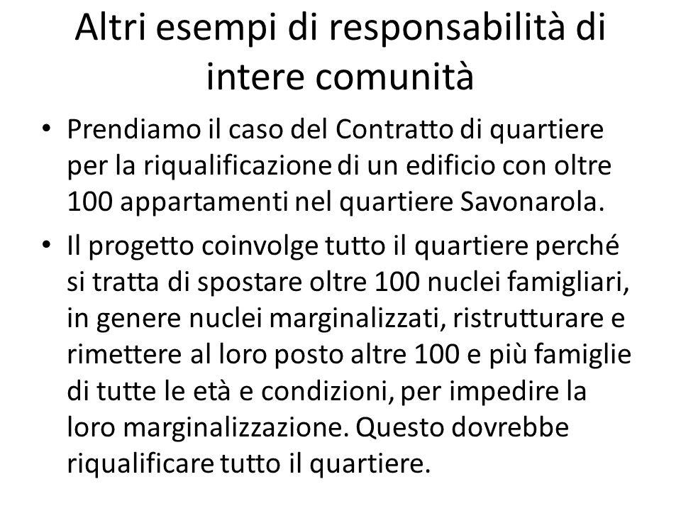 Altri esempi di responsabilità di intere comunità Prendiamo il caso del Contratto di quartiere per la riqualificazione di un edificio con oltre 100 ap