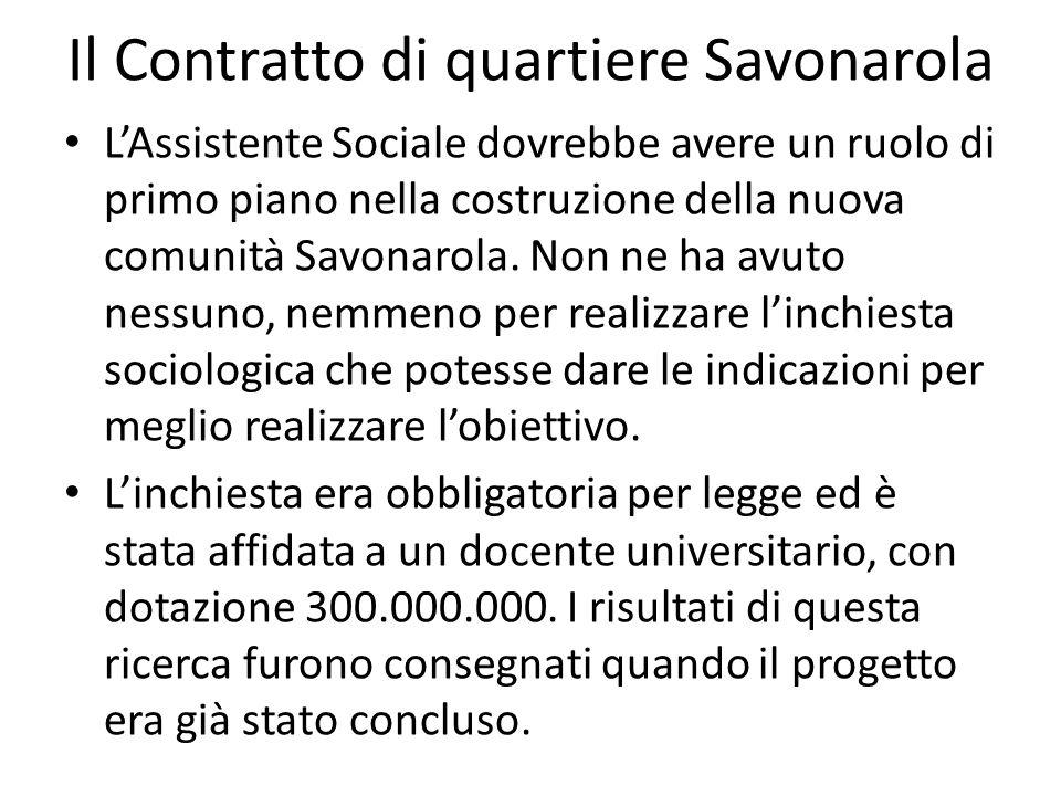 Il Contratto di quartiere Savonarola LAssistente Sociale dovrebbe avere un ruolo di primo piano nella costruzione della nuova comunità Savonarola. Non