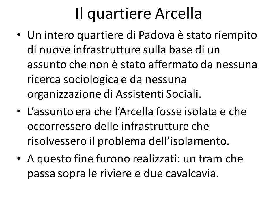 Il quartiere Arcella Un intero quartiere di Padova è stato riempito di nuove infrastrutture sulla base di un assunto che non è stato affermato da ness