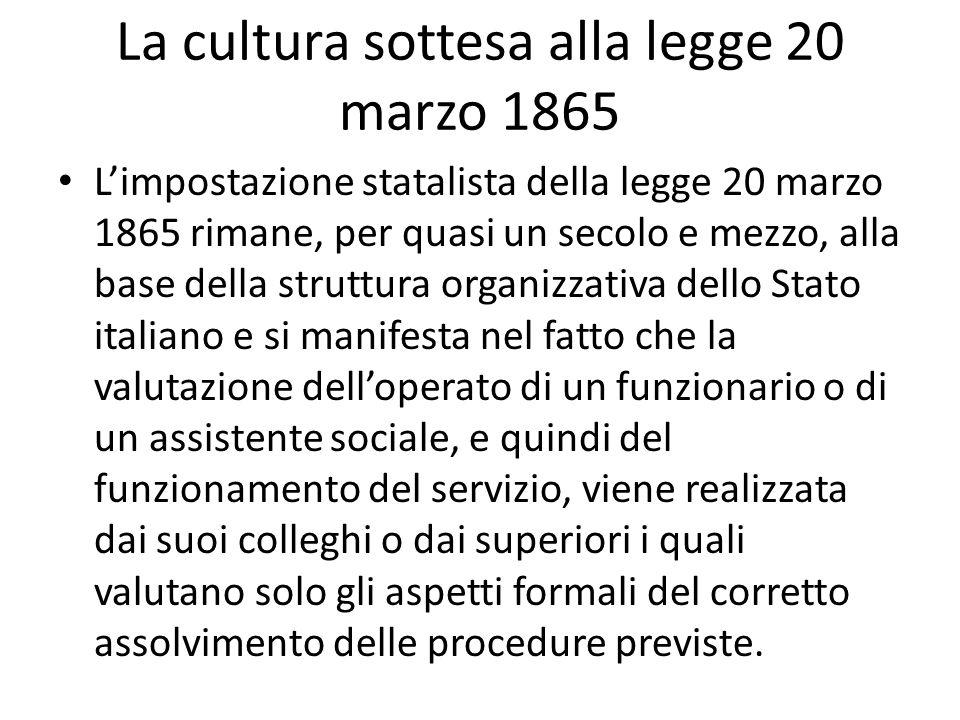 La cultura sottesa alla legge 20 marzo 1865 Limpostazione statalista della legge 20 marzo 1865 rimane, per quasi un secolo e mezzo, alla base della st