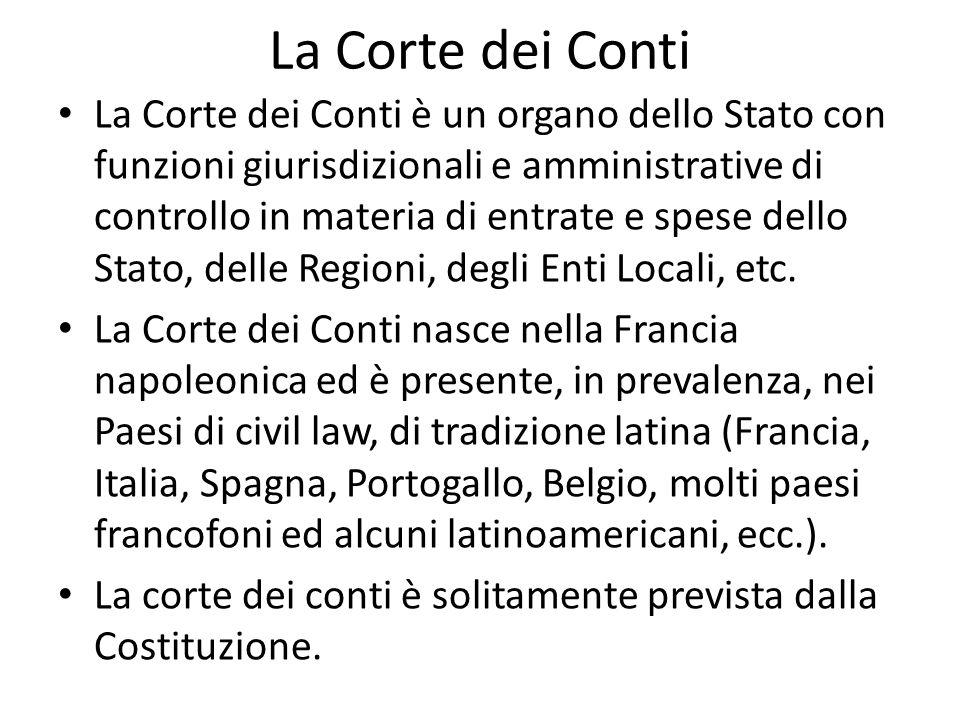 La Corte dei Conti La Corte dei Conti è un organo dello Stato con funzioni giurisdizionali e amministrative di controllo in materia di entrate e spese