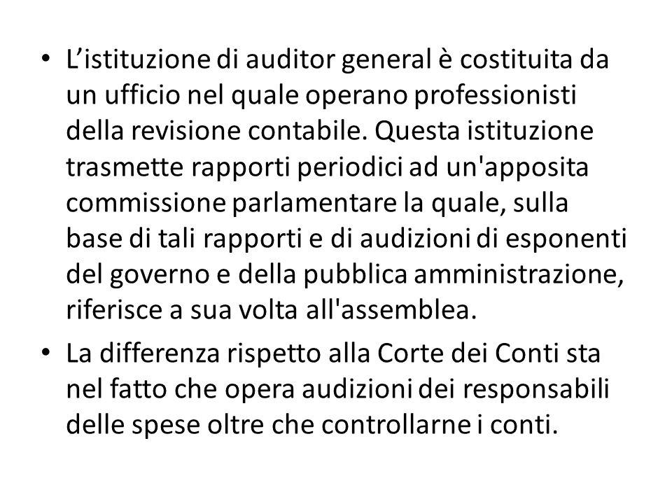 Listituzione di auditor general è costituita da un ufficio nel quale operano professionisti della revisione contabile. Questa istituzione trasmette ra