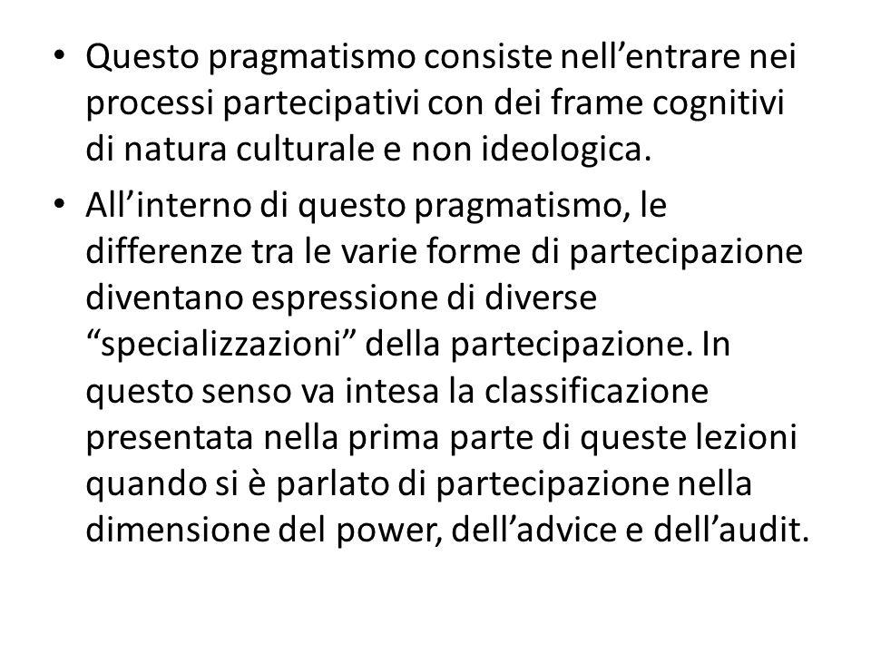 Questo pragmatismo consiste nellentrare nei processi partecipativi con dei frame cognitivi di natura culturale e non ideologica. Allinterno di questo