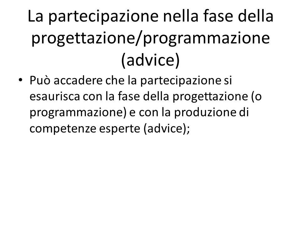 La partecipazione nella fase della progettazione/programmazione (advice) Può accadere che la partecipazione si esaurisca con la fase della progettazio
