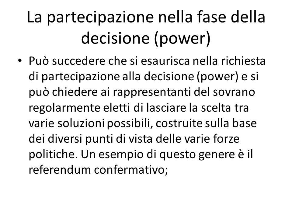 La partecipazione nella fase della decisione (power) Può succedere che si esaurisca nella richiesta di partecipazione alla decisione (power) e si può