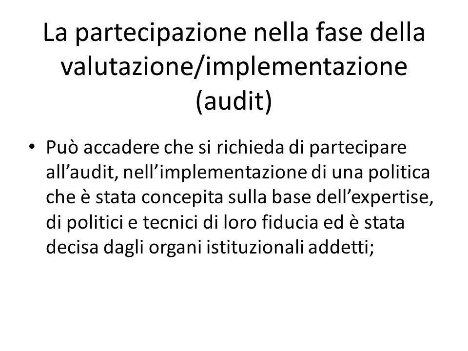 La partecipazione nella fase della valutazione/implementazione (audit) Può accadere che si richieda di partecipare allaudit, nellimplementazione di un