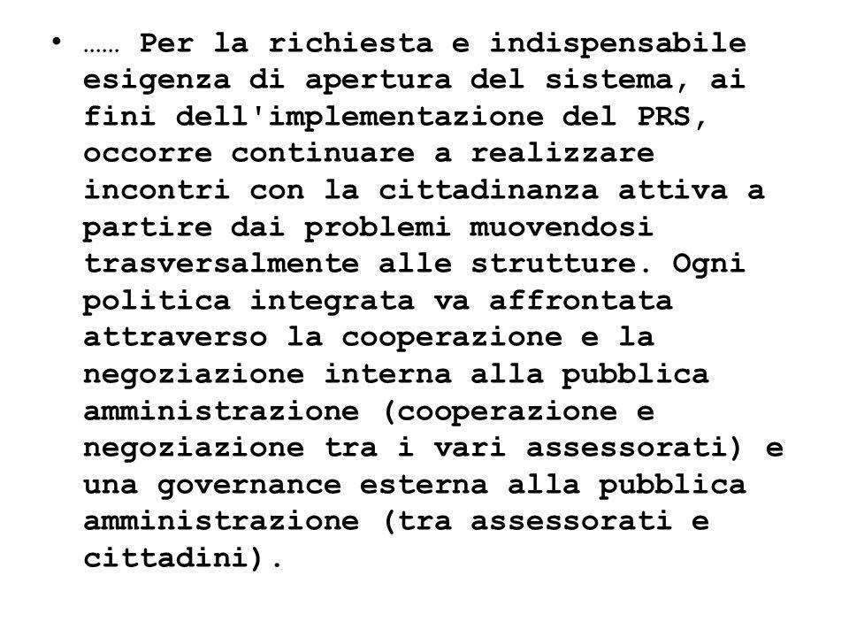 …… Per la richiesta e indispensabile esigenza di apertura del sistema, ai fini dell'implementazione del PRS, occorre continuare a realizzare incontri