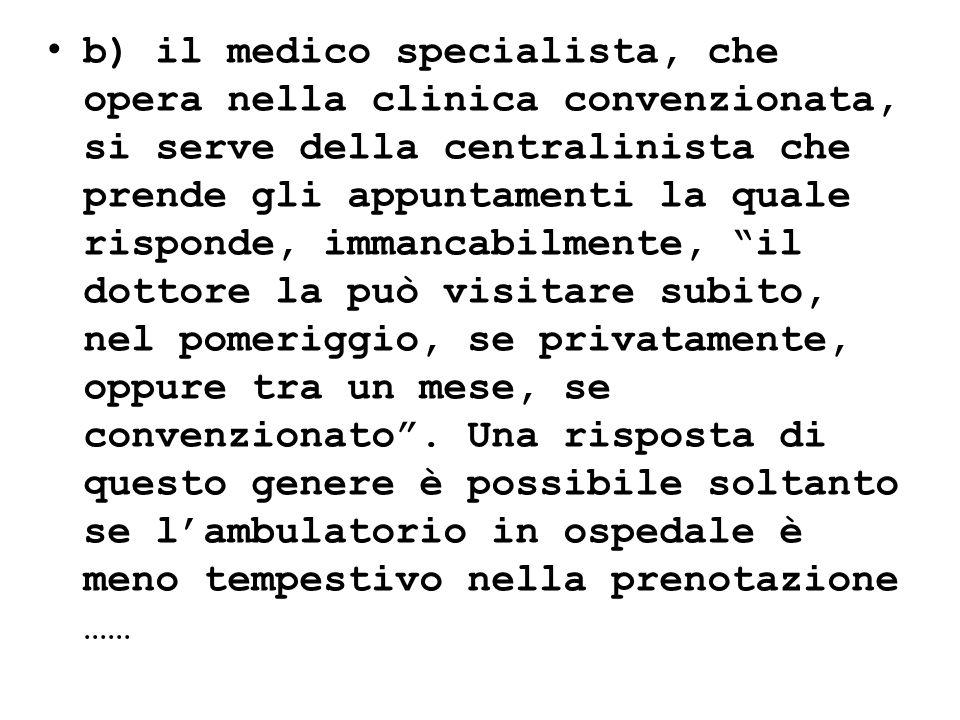 b) il medico specialista, che opera nella clinica convenzionata, si serve della centralinista che prende gli appuntamenti la quale risponde, immancabi