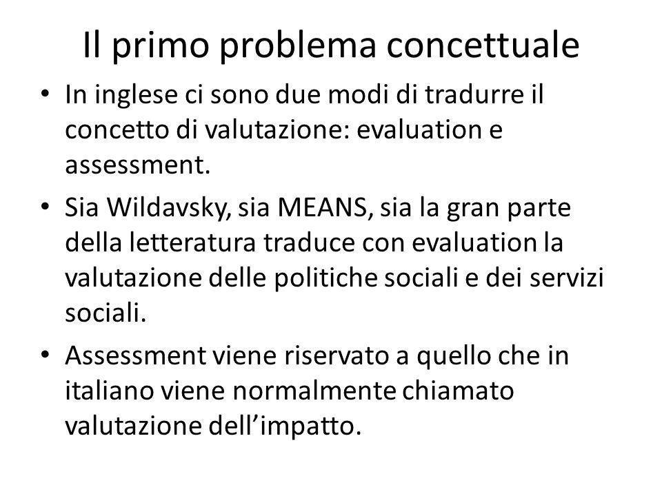 Il primo problema concettuale In inglese ci sono due modi di tradurre il concetto di valutazione: evaluation e assessment. Sia Wildavsky, sia MEANS, s