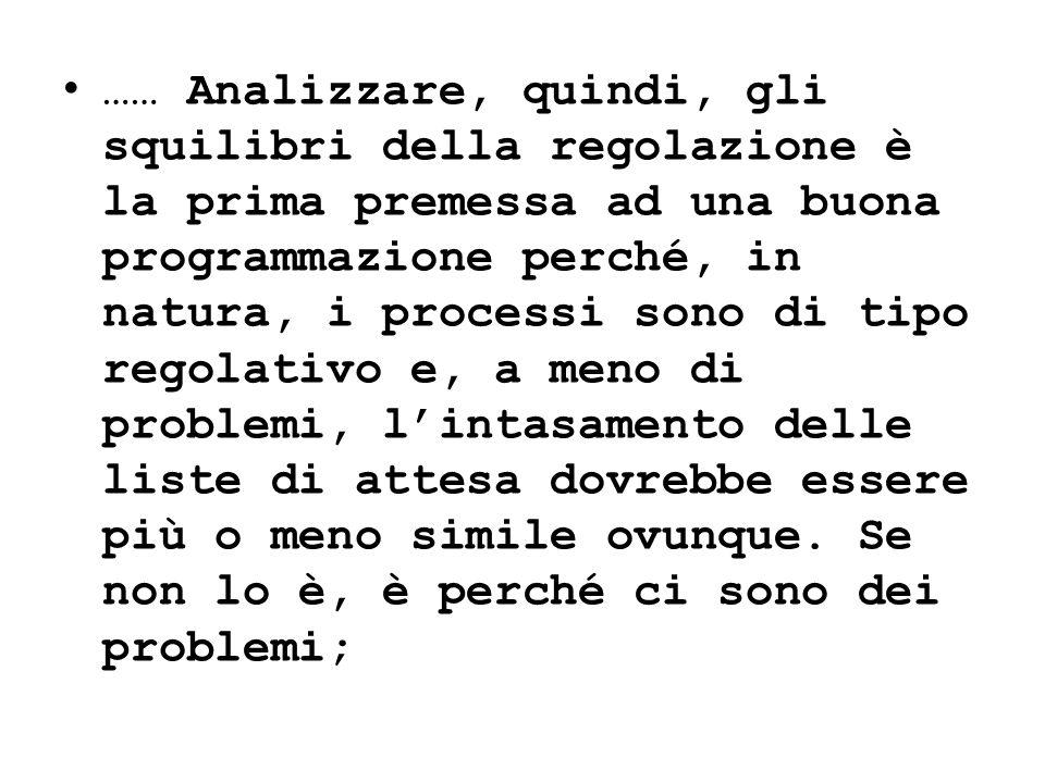…… Analizzare, quindi, gli squilibri della regolazione è la prima premessa ad una buona programmazione perché, in natura, i processi sono di tipo rego