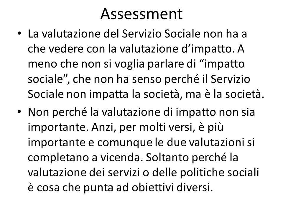 Assessment La valutazione del Servizio Sociale non ha a che vedere con la valutazione dimpatto. A meno che non si voglia parlare di impatto sociale, c