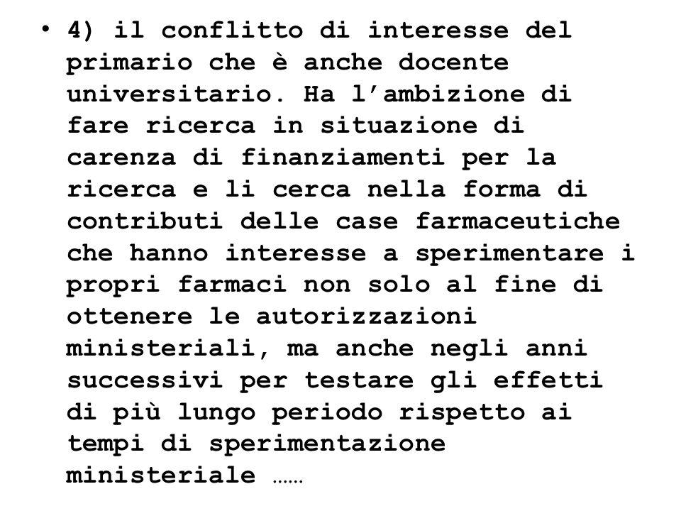 4) il conflitto di interesse del primario che è anche docente universitario. Ha lambizione di fare ricerca in situazione di carenza di finanziamenti p