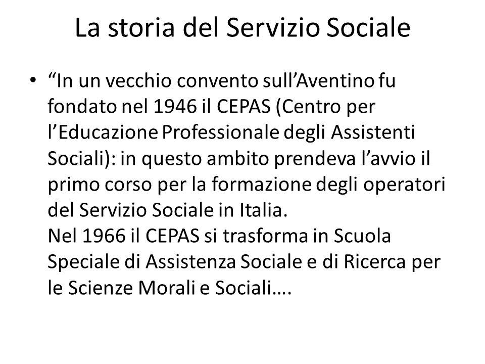 La storia del Servizio Sociale In un vecchio convento sullAventino fu fondato nel 1946 il CEPAS (Centro per lEducazione Professionale degli Assistenti