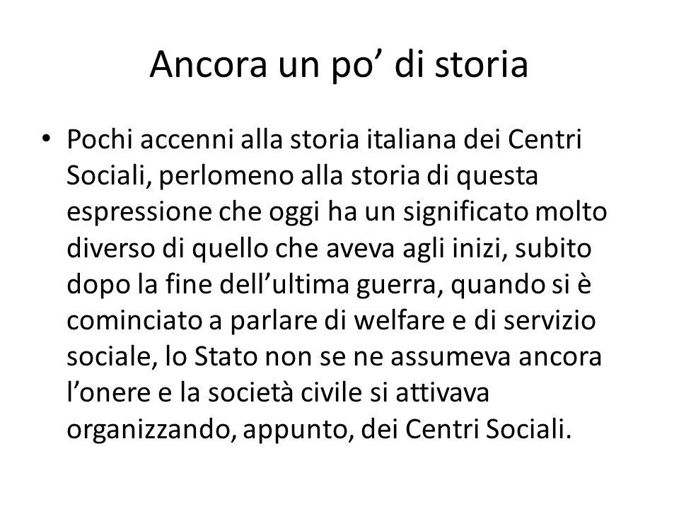 Ancora un po di storia Pochi accenni alla storia italiana dei Centri Sociali, perlomeno alla storia di questa espressione che oggi ha un significato m