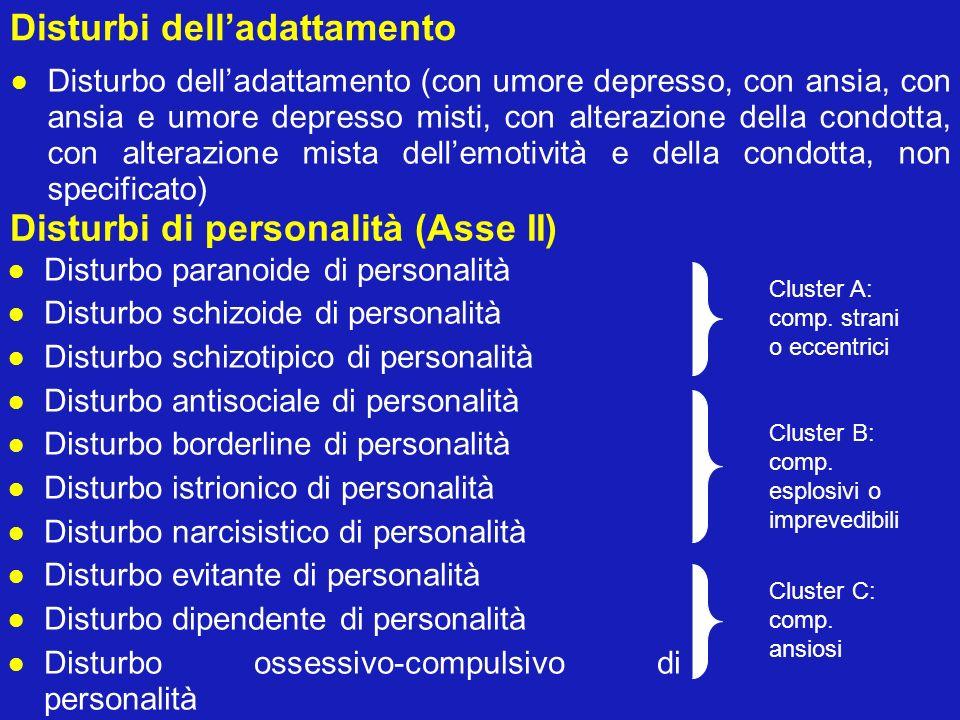 Disturbi delladattamento Disturbo delladattamento (con umore depresso, con ansia, con ansia e umore depresso misti, con alterazione della condotta, co