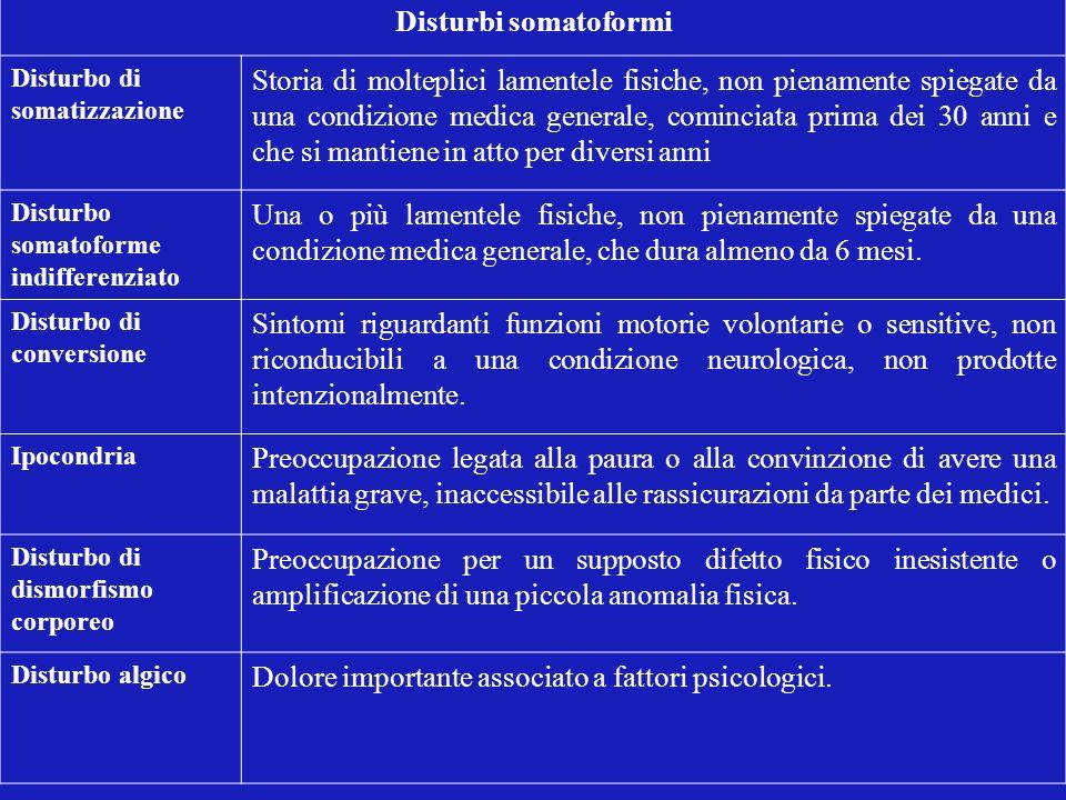 Disturbi somatoformi Disturbo di somatizzazione Storia di molteplici lamentele fisiche, non pienamente spiegate da una condizione medica generale, com