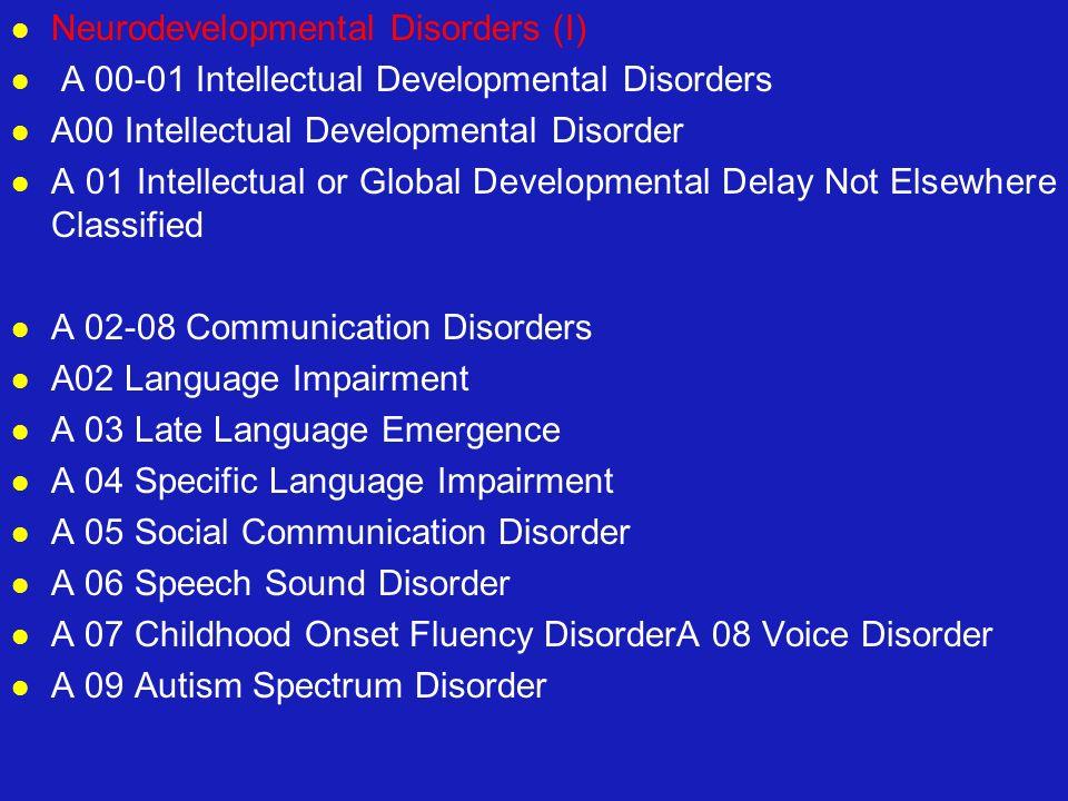 Neurodevelopmental Disorders (I) A 00-01 Intellectual Developmental Disorders A00 Intellectual Developmental Disorder A 01 Intellectual or Global Deve