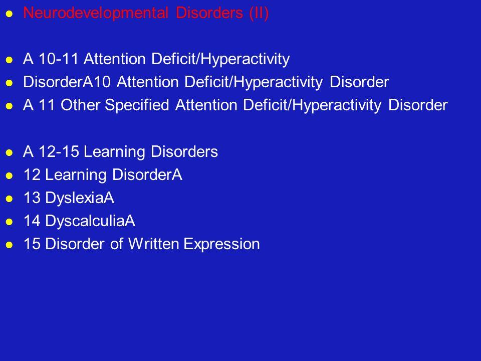 Neurodevelopmental Disorders (II) A 10-11 Attention Deficit/Hyperactivity DisorderA10 Attention Deficit/Hyperactivity Disorder A 11 Other Specified At