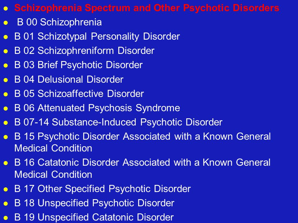 Schizophrenia Spectrum and Other Psychotic Disorders B 00 Schizophrenia B 01 Schizotypal Personality Disorder B 02 Schizophreniform Disorder B 03 Brie