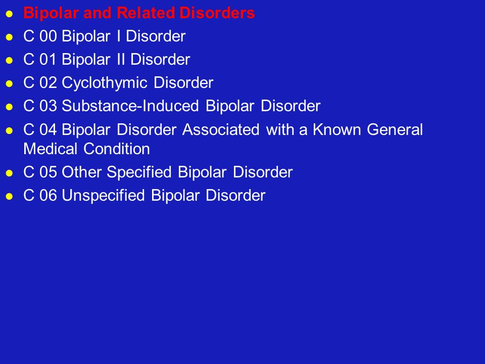 Bipolar and Related Disorders C 00 Bipolar I Disorder C 01 Bipolar II Disorder C 02 Cyclothymic Disorder C 03 Substance-Induced Bipolar Disorder C 04