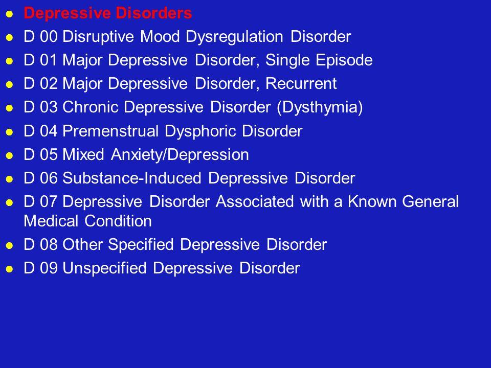 Depressive Disorders D 00 Disruptive Mood Dysregulation Disorder D 01 Major Depressive Disorder, Single Episode D 02 Major Depressive Disorder, Recurr