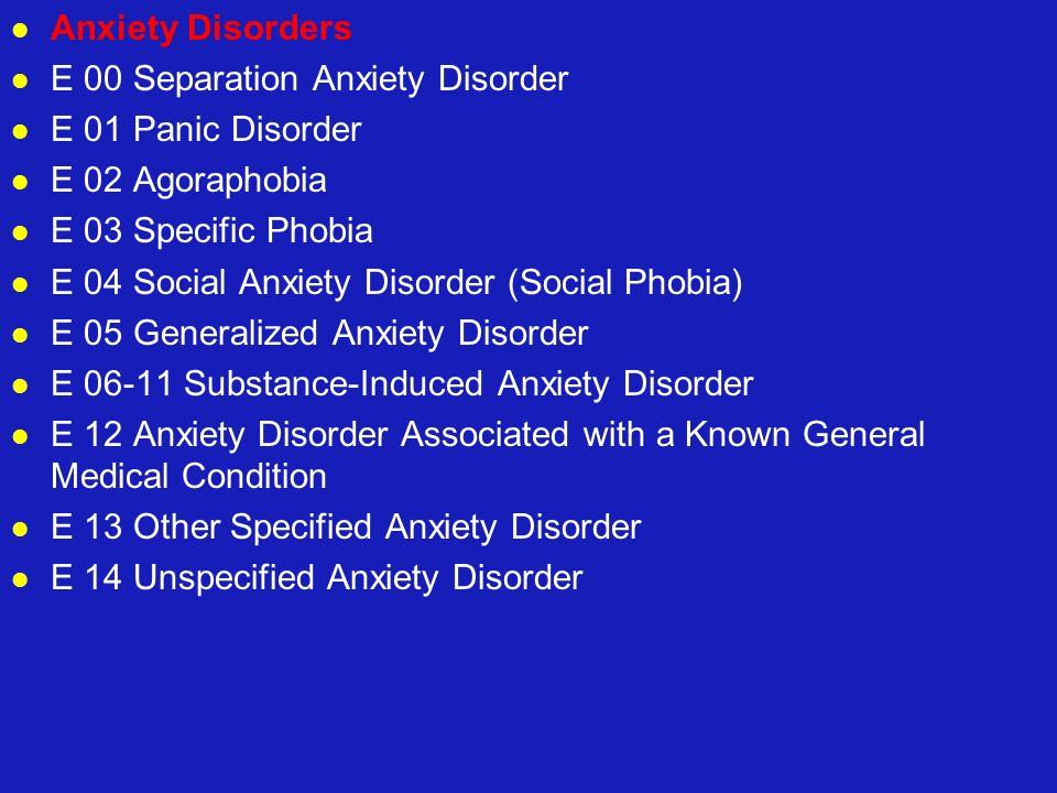Anxiety Disorders E 00 Separation Anxiety Disorder E 01 Panic Disorder E 02 Agoraphobia E 03 Specific Phobia E 04 Social Anxiety Disorder (Social Phob
