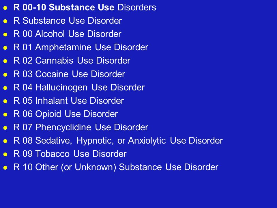 R 00-10 Substance Use Disorders R Substance Use Disorder R 00 Alcohol Use Disorder R 01 Amphetamine Use Disorder R 02 Cannabis Use Disorder R 03 Cocai