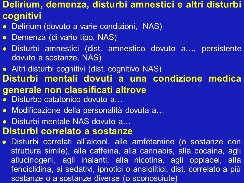 Delirium, demenza, disturbi amnestici e altri disturbi cognitivi Delirium (dovuto a varie condizioni, NAS) Demenza (di vario tipo, NAS) Disturbi amnes