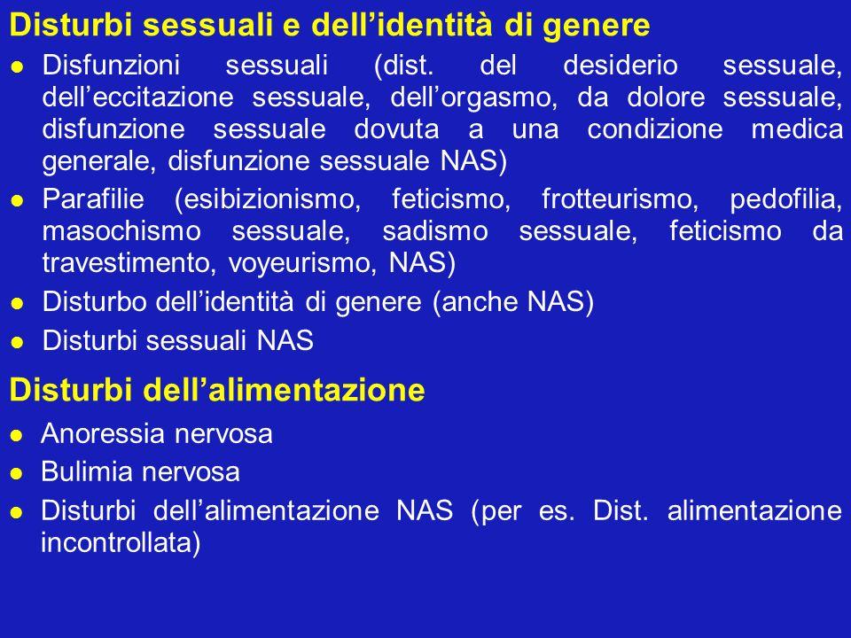 Disturbi sessuali e dellidentità di genere Disfunzioni sessuali (dist. del desiderio sessuale, delleccitazione sessuale, dellorgasmo, da dolore sessua