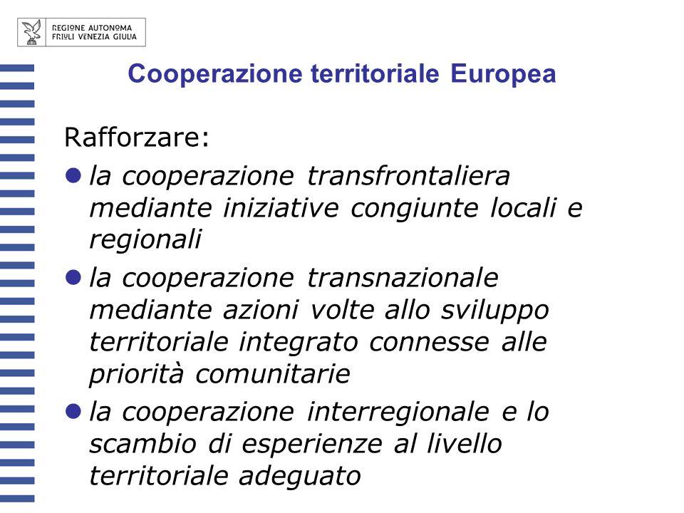 Rafforzare: la cooperazione transfrontaliera mediante iniziative congiunte locali e regionali la cooperazione transnazionale mediante azioni volte all