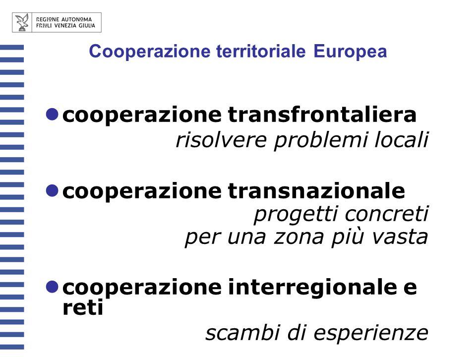 cooperazione transfrontaliera risolvere problemi locali cooperazione transnazionale progetti concreti per una zona più vasta cooperazione interregiona