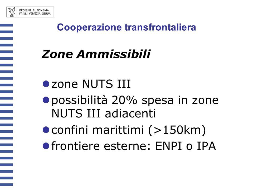 Zone Ammissibili zone NUTS III possibilità 20% spesa in zone NUTS III adiacenti confini marittimi (>150km) frontiere esterne: ENPI o IPA Cooperazione