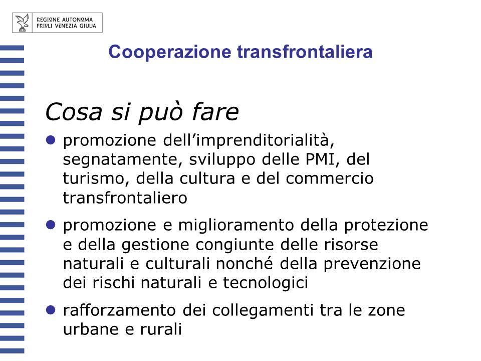 Cosa si può fare promozione dellimprenditorialità, segnatamente, sviluppo delle PMI, del turismo, della cultura e del commercio transfrontaliero promo