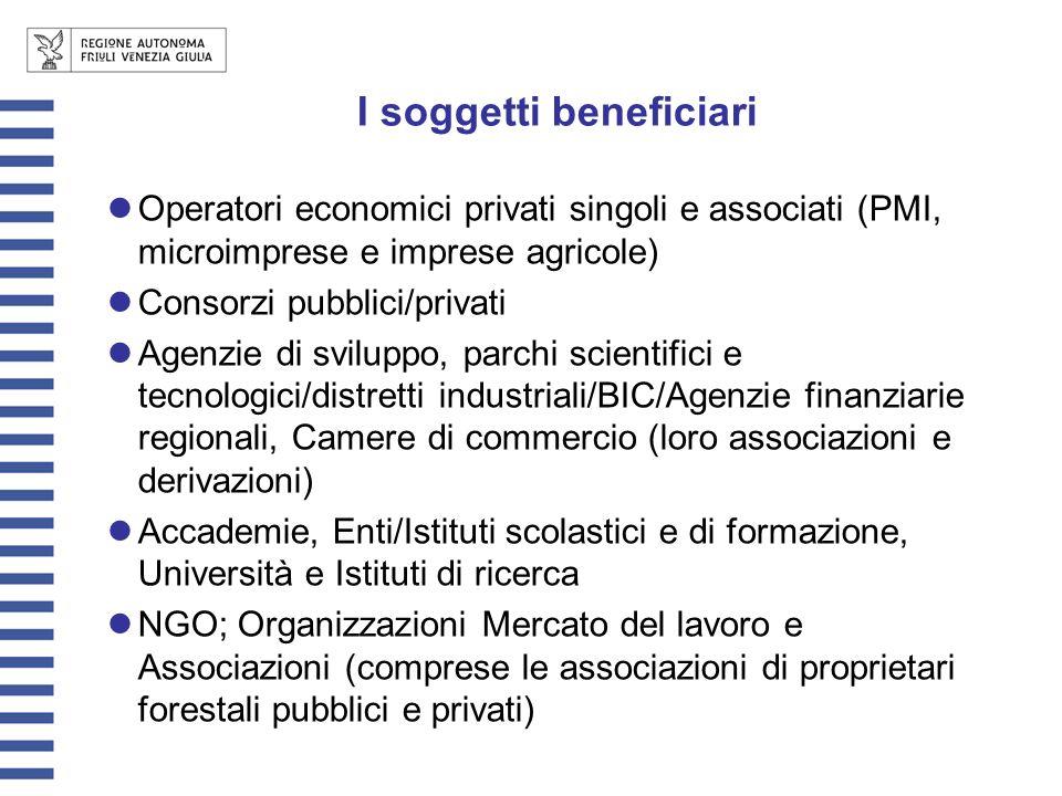 I soggetti beneficiari Operatori economici privati singoli e associati (PMI, microimprese e imprese agricole) Consorzi pubblici/privati Agenzie di svi