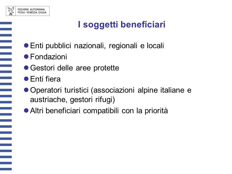 I soggetti beneficiari Enti pubblici nazionali, regionali e locali Fondazioni Gestori delle aree protette Enti fiera Operatori turistici (associazioni