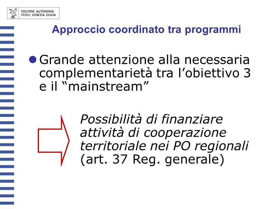 Approccio coordinato tra programmi Grande attenzione alla necessaria complementarietà tra lobiettivo 3 e il mainstream Possibilità di finanziare attiv